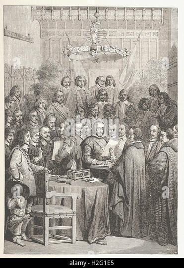 SIGNING OF THE TREATY OK WESTPHALIA. - from 'Cassell's Illustrated Universal History' - 1882 - Stock Image
