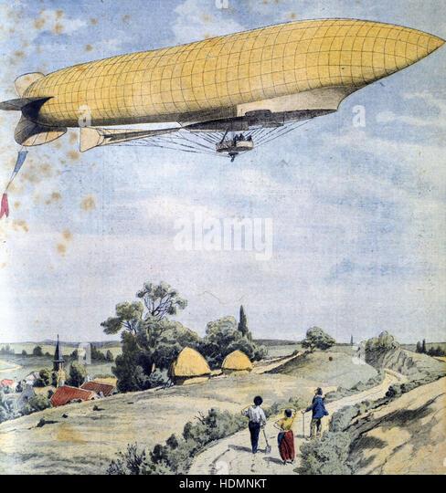 'Le Petit Journal' Paris, 20 September 1908 - French military airship La Republique on her maiden flight - Stock Image