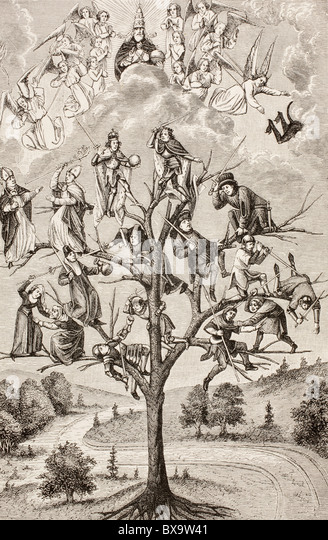 The Tree of Battles. Allegorical figures representing the discord existing between social classes. - Stock Image