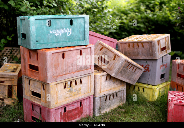 colourful crates - Stock-Bilder