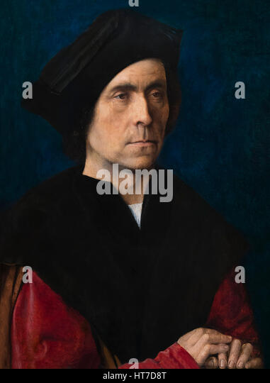 Portrait of a Man, by Michel Sittow, circa 1510, Royal Art Gallery, Mauritshuis Museum, The Hague, Netherlands, - Stock Image
