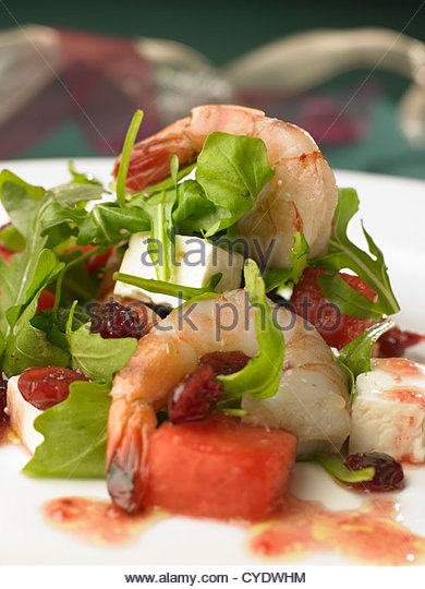 Prawn,Melon and Feta Salad - Stock Image