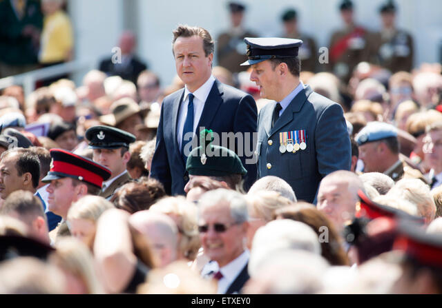 David Cameron, centre, arrives for the service of rededication of the Bastion Wall at the National memorial Arboretum - Stock Image