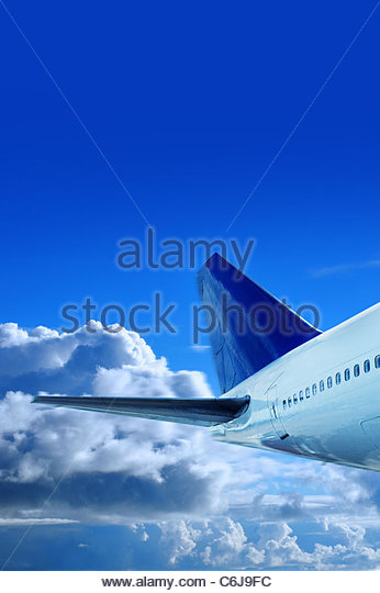 jumbo jet in sky - Stock Image