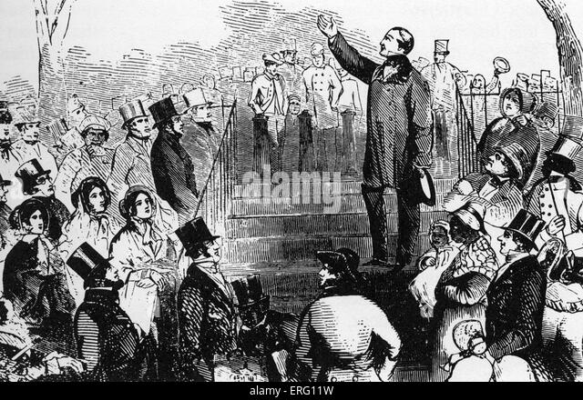 William Lloyd Garrison making an anti-slavery speech on Boston common. American journalist and abolitionist, 13 - Stock Image