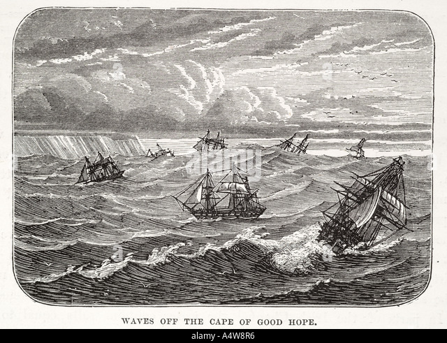 cape good hope Province South Africa storm waves sailing ship boat mast wooden cliff wind gale high sea nautical - Stock Image
