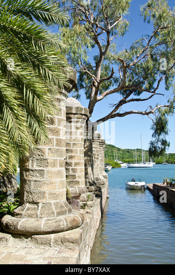 Admiral's Inn Hotel boat house round pillars at Nelsons Dockyard National Park at English Harbour Antigua - Stock Image