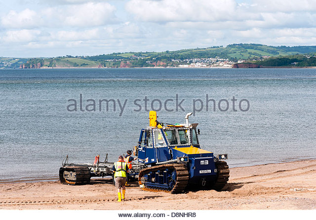 RNLI tractor & trailer at Exmouth, Devon, UK. - Stock Image