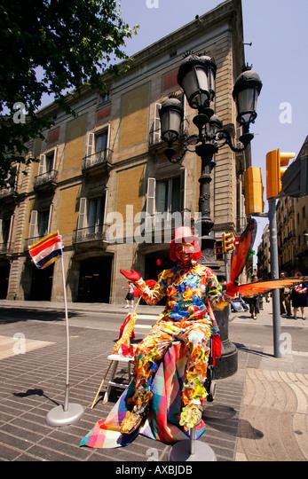 spain Barcelona ramblas street artists - Stock Image