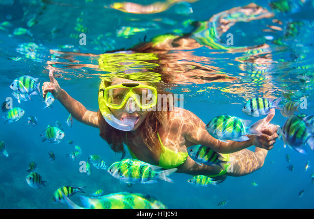 Woman snorkel diving tropical fish stock photos woman for Happy fish swimming