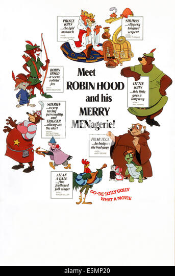 ROBIN HOOD, (clockwise from top center): Prince John, Sir Hiss, Little John, Friar Tuck, Toby Turtle, Alan-A-Dale/Rooster, - Stock Image