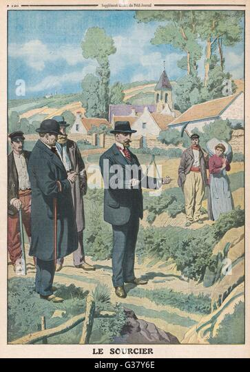 Near Paris, a Congress of Experimental Psychology holds a successful demonstration of dowsing.     Date: 1913 - Stock Image