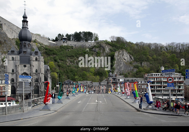 Saxophone.Dinant.Belgium.Adolphe Sax 1814-2014 citizen of Dinant,inventor of the saxophone. - Stock Image