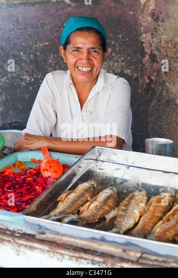 Food vendors, Barranquilla, Colombia - Stock Image