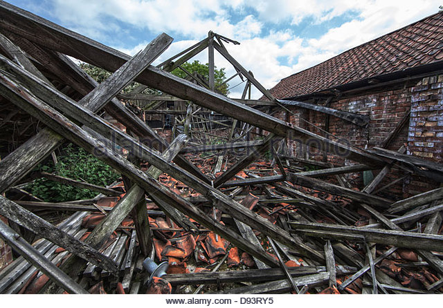 collapsed building - Stock Image