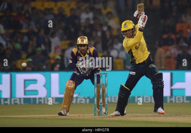 Lahore, Pakistan. 05th Mar, 2017. A view of the final cricket match Pakistan Super League (PSL) between Quetta Gladiators - Stock Image