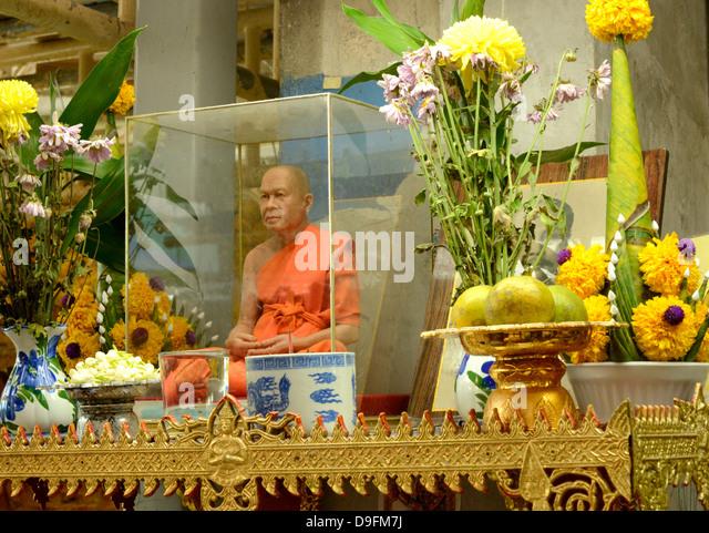 A wax monk, Bangkok, Thailand. Southeast Asia - Stock Image