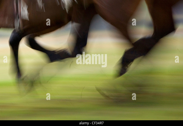 Blurred motion of race horses at full gallop. - Stock Image