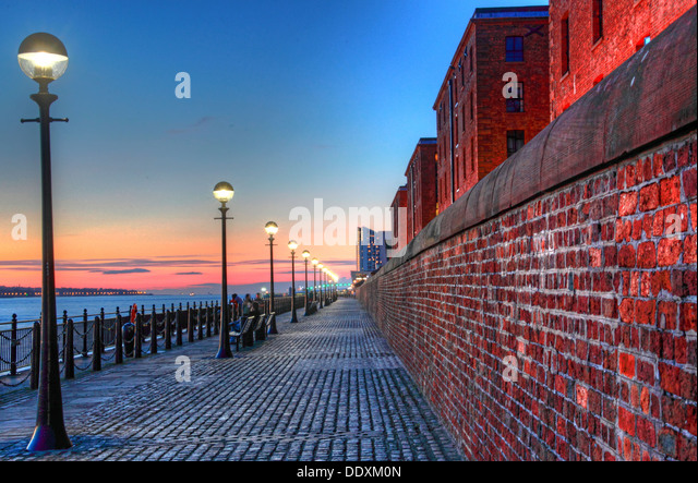 Looking down the Mersey from the Albert Dock at Nighttime liverpool Merseyside England UK - Stock Image