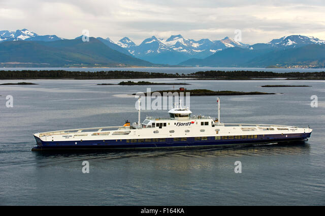Ro-Ro Passenger Ship Fannefjord in the Romsdalsfjord near Molde, Møre og Romsdal county, Norway - Stock Image