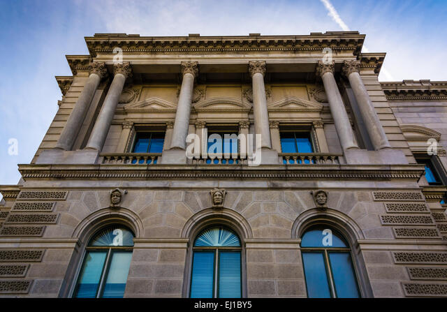 Exterior architecture at the Library of Congress, in Washington, DC. - Stock-Bilder