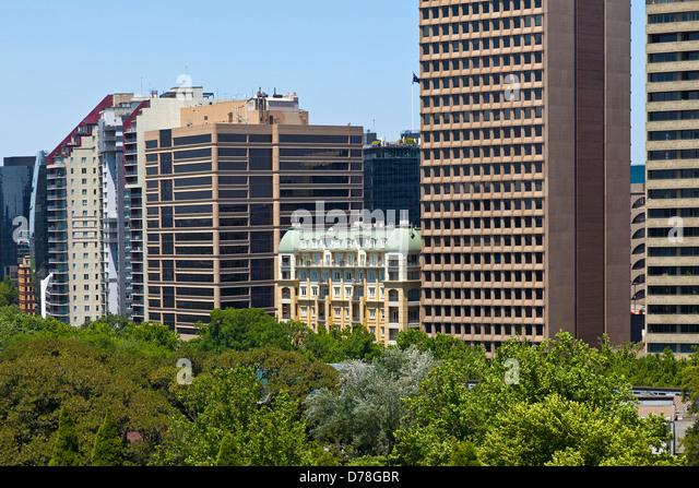 Old and new architecture in Melbourne, Australia - Stock Image