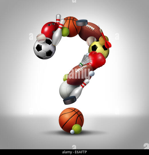 Sports questions symbol as equipment with a football basketball baseball soccer tennis and golf ball and badminton - Stock Image