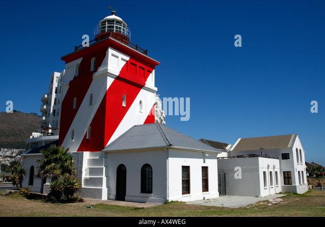 green point lighthouse mouille point beach road cape town western cape province south africa - Stock Image