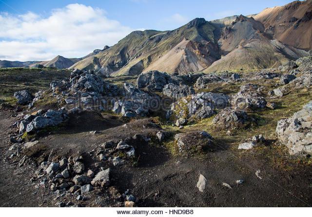 Volcanic Landscape Blue Sky - Stock Image