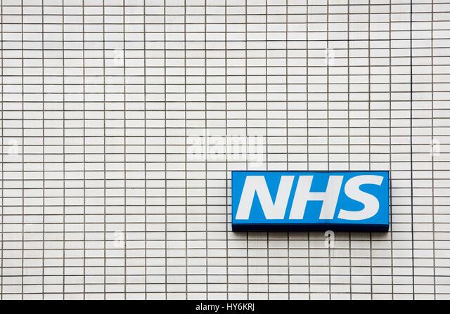 NHS sign on St Thomas' Hospital. Westminster Bridge Rd, Lambeth, London - Stock Image