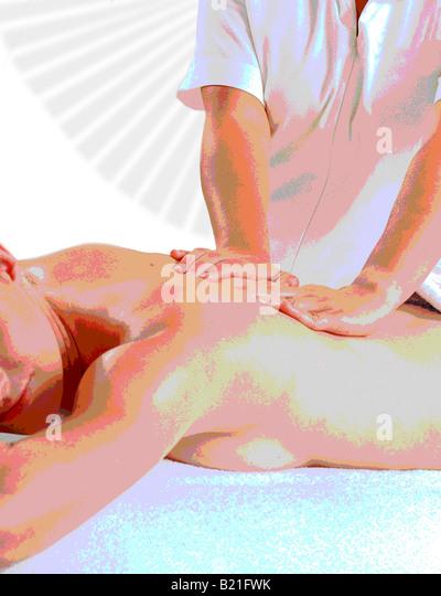 ILLUSTRATION OF MASSEUSE AND CLIENT HEALTH SPA - Stock-Bilder