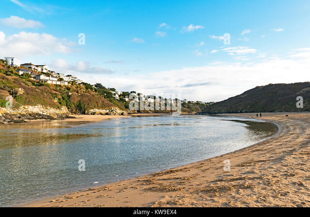 sunny winter day by the river gannel at crantock in cornwall, england, britain, uk. - Stock Image