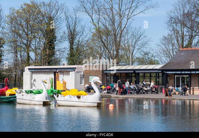 Boating Lake & Lakeside Cafe at Alexandra Palace, London Borough of Haringey, Greater London, England, United - Stock Image