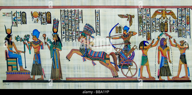 New Egyptian Paintings from pharaonic times on papyrus paper Egypt Cairo - Stock Image