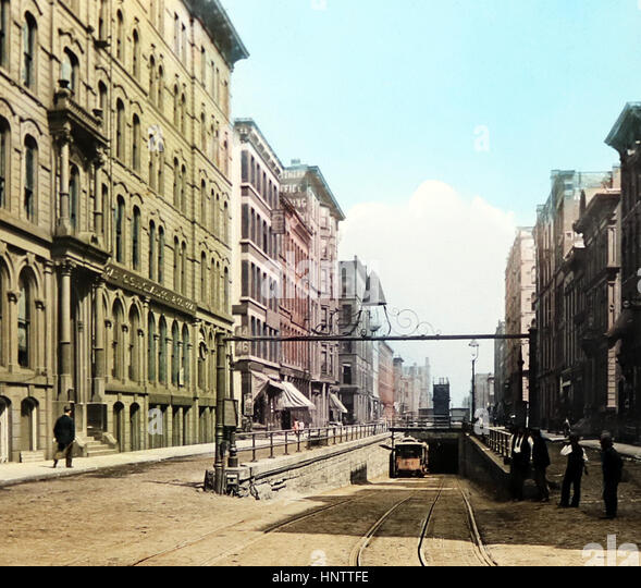 La Salle Street Tunnel, Chicago - hand coloured when published - early 1900s - Stock Image