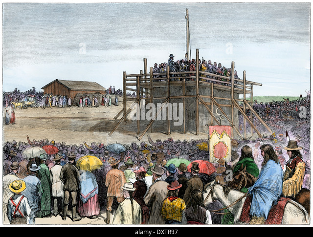 Ceremony laying the cornerstone of the capitol in Bismarck, North Dakota, 1883. - Stock Image
