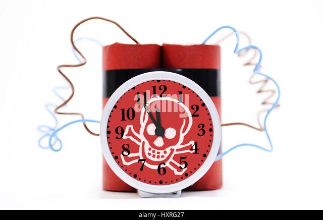 Time bomb with death's-head, Zeitbombe mit Totenkopf - Stock Image