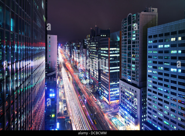 Gangnam District, Seoul, South Korea cityscape at night. - Stock Image