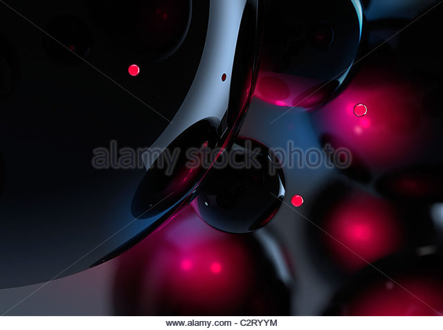 Abstract glowing black and red spheres - Stock Image