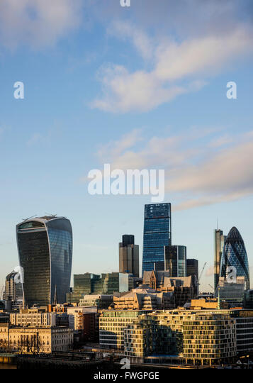 View from City Hall rooftop over London skyline, London, England, United Kingdom, Europe - Stock Image