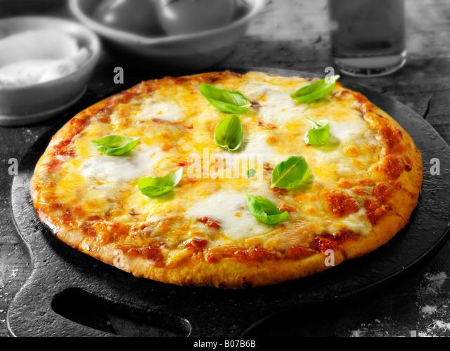 Whole three cheese margarita pizza - Stock Image