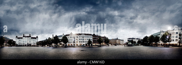 Panoramic view of city at night - Stock Image