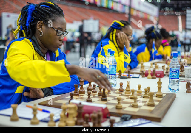 Women's section at the 42nd Chess Olympiad in Baku, Azerbaijan - Stock Image