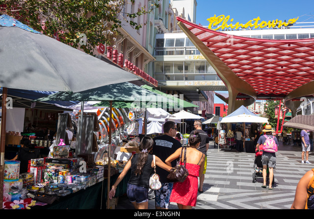 Brisbane Australia Queensland Fortitude Valley Chinatown Brunswick Street Saturday Market flea shopping vendors - Stock Image