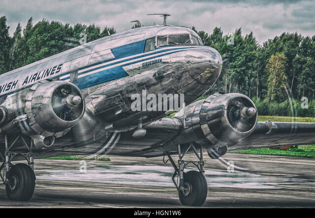 Douglas DC-3 (Douglas Commercial 3), DC-3 OH-LCH - Stock Image
