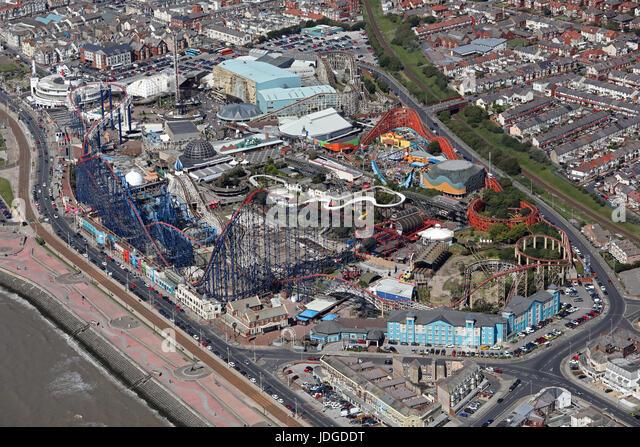 aerial view of Blackpool Pleasure Beach, UK - Stock Image