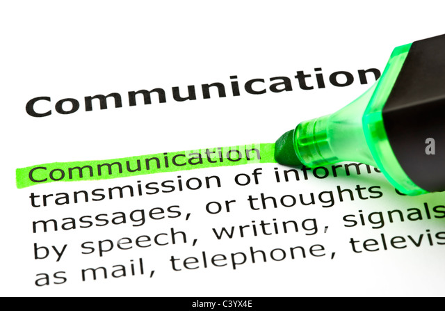 The word 'Communication' highlighted in green with felt tip pen - Stock Image