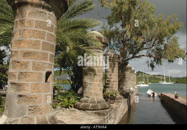 Antigua 18th century columns Nelsons Dockyard National Park at English Harbour Antigua Eastern Caribbean historical - Stock Image