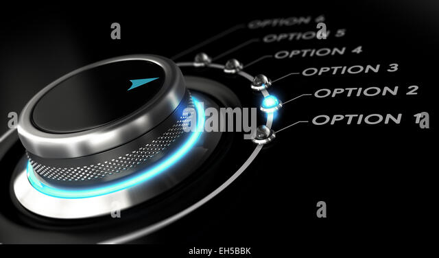 Switch button with blue light, black background. Conceptual image for illustration of business options and decision - Stock Image