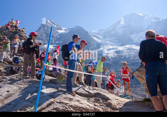 Jungfrau marathon, marathon, mountain run, run, sport, mountain scenery, landscape, mountain, mountains, mountain - Stock Image